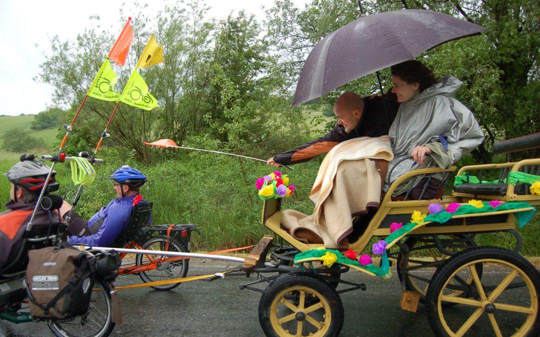 Three AZUB recumbent trikes towing ponny buggy during wedding celebration