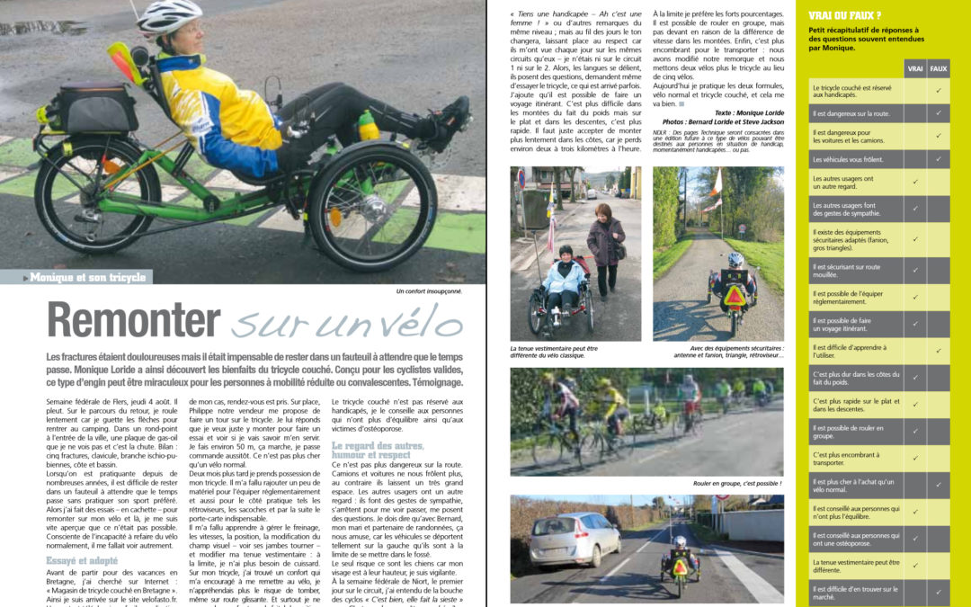 An important article about trikes and safetyin french magazine