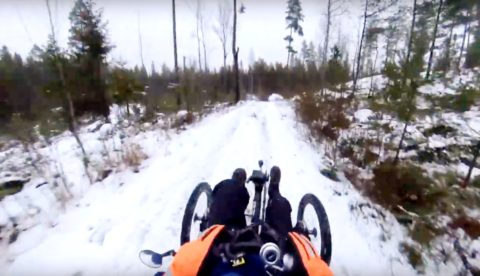 electric recumbent trike riding in Finland