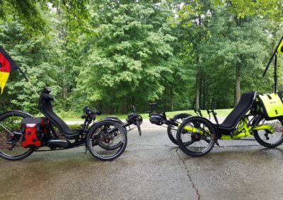 Two out of three AZUB trikes the family has