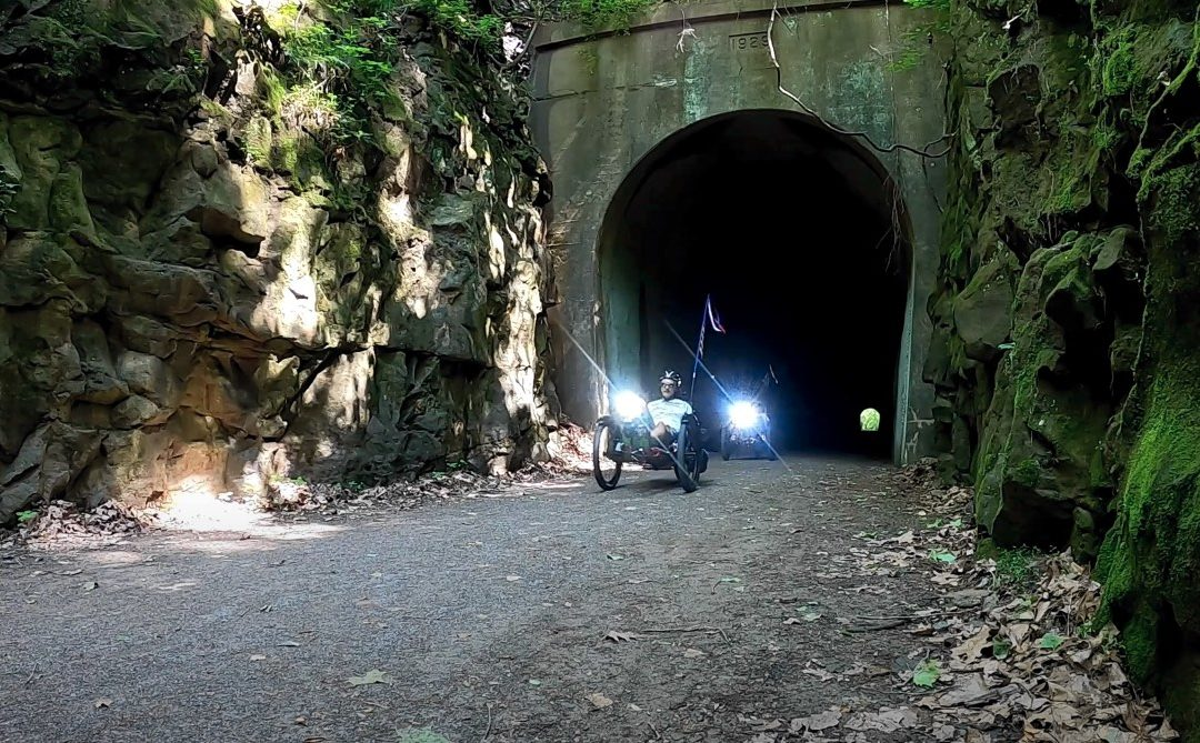 Mary and Matt riding Ti-FLY X on the Tunnel Hill Trail